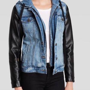 BLANK NYC Jean Jacket Vegan Leather Sleeves S